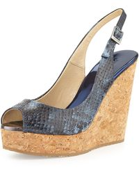 Jimmy Choo Prova Snakeprint Slingback Wedge - Lyst