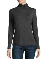 Studio 148 By Lafayette 148 New York - Soft Jersey Turtleneck Tee Smoke Large - Lyst