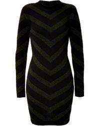 Balmain Mohair Blend Chevron Knit Dress - Lyst