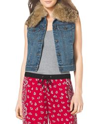 Michael by Michael Kors Furtrim Denim Vest - Lyst