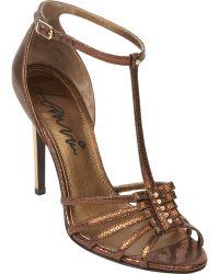 Lanvin Metallic Nail-Head T-Strap Sandals brown - Lyst
