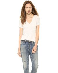 Madewell Slub V Neck Pocket Tee Camelblack Heather - Lyst
