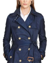 Lauren by Ralph Lauren Double-Breasted Trench Coat - Lyst