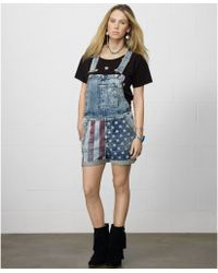 Denim & Supply Ralph Lauren Flagprint Denim Overalls - Lyst