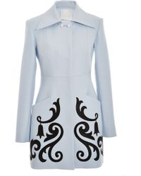 Honor Light Blue Twill Straight Coat with Crystal Embellishment - Lyst