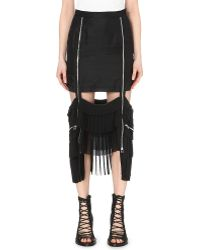 Hood By Air - Pleated Drop-hem Silk Skirt - Lyst