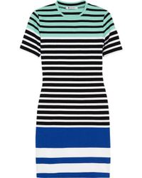 T By Alexander Wang Striped Stretch-cotton Mini Dress - Lyst