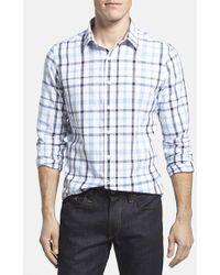 Victorinox - Tailored Fit Plaid Cotton & Linen Sport Shirt - Lyst