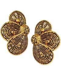 Jose & Maria Barrera Golden Layered Flower Clip-on Earrings red - Lyst