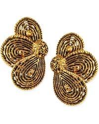 Jose & Maria Barrera Golden Layered Flower Clip-on Earrings - Lyst