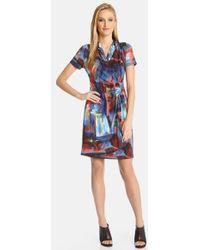 Karen Kane Painted Canvas Faux-Wrap Dress - Lyst