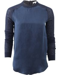 Carven Silk Front Knit - Lyst