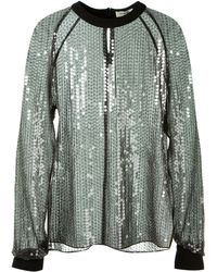 Mugler Tulle And Sequin Embroidered Black Top - Lyst