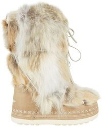 Bogner - Lace Up Coyote Fur Boot - Lyst