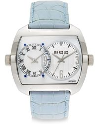 Versus  Dual-Time Stainless Steel & Leather Strap Watch - Lyst