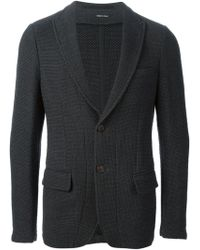 Giorgio Armani Knitted Peaked Lapel Blazer - Lyst