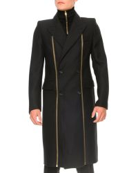 Alexander McQueen Panama Wool Zipper Detail Coat - Lyst