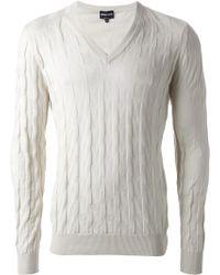 Giorgio Armani 'Relief' V-Neck Sweater - Lyst
