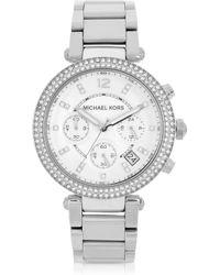Michael Kors Parker Stainless Steel Chronograph Glitz Watch Women'S Watch - Lyst