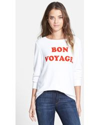 Wildfox 'See Ya' Baggy Beach Jumper Pullover white - Lyst