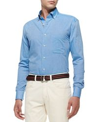 Peter Millar Solid Brushed Cotton Shirt - Lyst