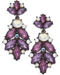 Inc International Concepts Hematite-tone Purple Stone Cluster Drop Earrings - Lyst