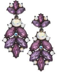 Inc International Concepts Hematite-tone Purple Stone Cluster Drop Earrings - Lyst