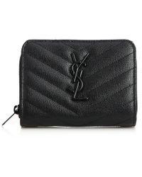 Saint Laurent   Monogram Textured Matelasse Leather Zip-around Wallet   Lyst