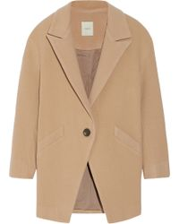 Mason by Michelle Mason Leather-Trimmed Wool-Blend Coat - Lyst