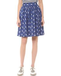 Chinti And Parker Bow Print Mid Skirt - Lyst