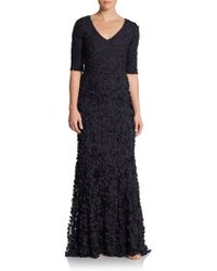 Theia Beaded Petal-embroidered Gown - Lyst