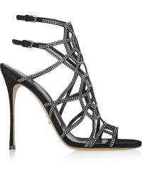 Sergio Rossi - Puzzle Basic Embellished Suede Sandals - Lyst