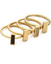 Madewell Rectange Stackable Ring Set True Black - Lyst