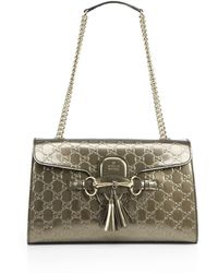 Gucci - Emily Shine Ssima Leather Chain Shoulder Bag - Lyst