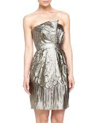 Philosophy di Alberta Ferretti Metallic Jacquard Strapless Dress - Lyst
