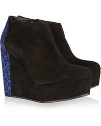 Pierre Hardy Suede Wedge Ankle Boots - Lyst
