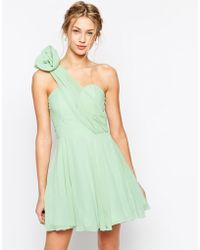 TFNC Prom One Shoulder Dress With Corsage Detail green - Lyst