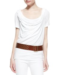 Donna Karan New York Studded Leather Contour Hip Belt - Lyst