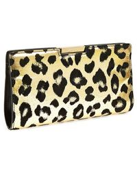 Milly Women'S 'Small Gold Leopard' Frame Clutch - Metallic - Lyst