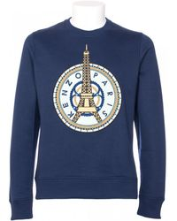 Kenzo Blue Cotton Mixed With Embroidery Front Sweatshirt blue - Lyst
