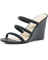 River Island Black Strappy Wedge Sandals black - Lyst