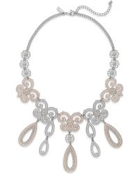 Inc International Concepts Two-Tone Crystal Teardrop Frontal Necklace - Lyst