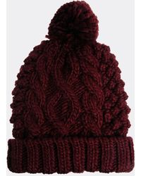 Asos Beanie with Cable Pom - Lyst