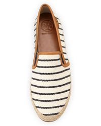 Tory Burch Nessie Striped Canvas Fauxleather Flats Fleet Stripe Navy - Lyst