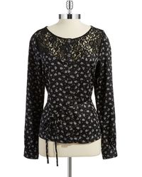 Guess Patterned Peasant Top - Lyst