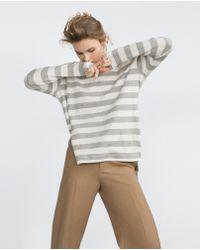 Zara | Asymmetric Sweatshirt With Slits | Lyst