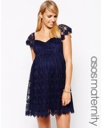 Asos Maternity Lace Skater Dress With Scalloped Sleeve - Lyst