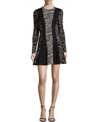 Nicole Miller Artelier - Long-sleeve Patchwork/animal-print Fit-and-flare Dress - Lyst