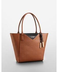 Calvin Klein Saffiano Leather Large Winged Tote Bag - Lyst