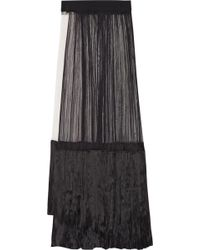 Haider Ackermann Pleated Silktulle and Satin Maxi Skirt - Lyst